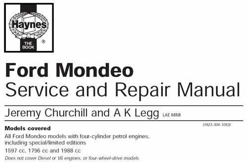 Руководство по эксплуатации, техническому обслуживанию и ремонту автомобилей Ford Mondeo (Haynes)
