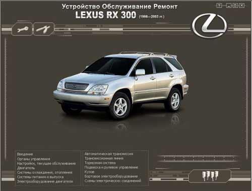 Мультимедийное руководство по ремонту и обслуживанию автомобиля Lexus RX 300 (1998-2003г. выпуска)
