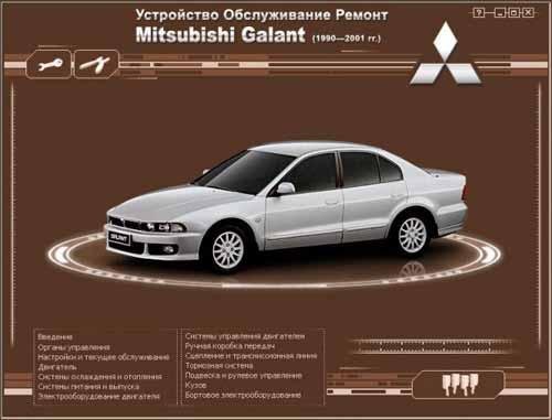 Мультимедийное руководство по ремонту и эксплуатации автомобиля Mitsubishi Galant (1990 - 2001 гг.)