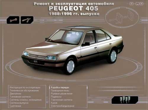 Ремонт и эксплуатация PEUGEOT 405. Мультимедийное руководство по ремонту и обслуживанию автомобиля PEUGEOT 405 (1988 - 1996г. выпуска).