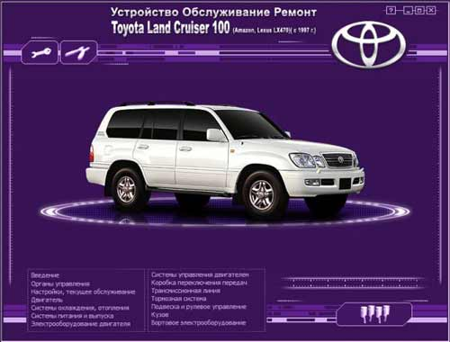 Мультимедийное руководство по ремонту и обслуживанию автомобиля Toyota Land Cruiser 100 (Lexus LX470) (c 1997г. выпуска)